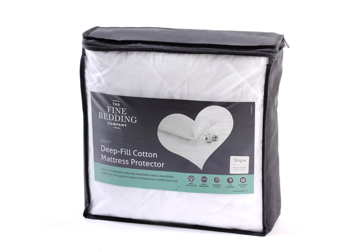 Deep Fill Cotton Mattress Protector - The Fine Bedding Company
